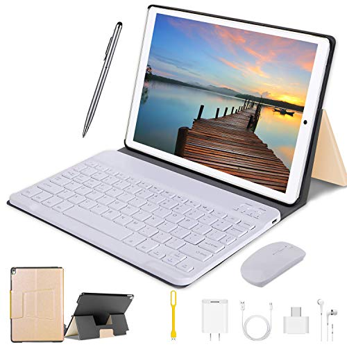 Tablets10PulgadasFullHD,Android8.1WiFi/4G/OTG,3GBRAM+64GBROM,Octa-Core8MPCámaraTabletPC8000mAhBateríaMovilesbaratosybuenosoTabletsPuedeLlamarApoyoDualSIMyTFCard(Oro)