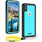 Waterproof iPhone Xs Max Case, Temdan Rugged Heavy Duty Support Wireless Charging Full Body Shockproof Clear Case Built in Screen Protector Waterproof Case for iPhone Xs Max Case 6.5 Inch(Blue)