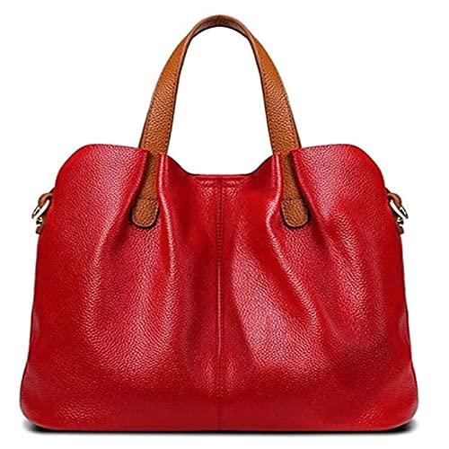 KFXD 2021 La última Bolsa de Asas de Cuero Suave, Bolsos de Mano de Mujer para Las Compras diarias y el Trabajo Adecuado para Cualquier ocasión 31x25x15cm Rojo