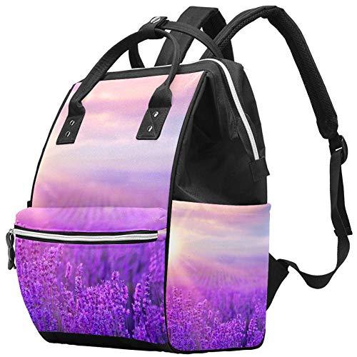 Grand sac à langer multifonction pour bébé couché de soleil sur un champ de lavande violet sac à dos de voyage sac à dos pour maman et papa