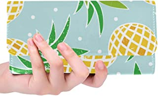 Unique Custom Vintage Summer Pineapple And Polka Dot Women Trifold Wallet Long Purse Credit Card Holder Case Handbag