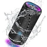 YOUXIU Altavoz Portátil Bluetooth, luz LED, 20W Impermeable IPX7 Sonido Estéreo, Sonido Envolvente De 360°, Graves Profundos, Micrófono Incorporado, AUX, Micro SD, para Fiestas, Al Aire Libre