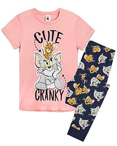 Tom und Jerry Schlafanzug Damen, Pyjama Damen, Baumwolle Tshirt, Hausanzug, Süßes Zweiteiliger Nachtwäsche Damen, Loungewear, Cute Shirt Design, Geschenke für Frauen (S)