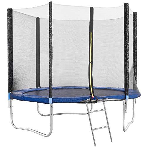 EGLEMTEK Trampolino Diametro 245 cm Tappeto Jumper Elastico con Rete di Sicurezza, 6 Pali Imbottiti, Scaletta e Rivestimento sui Bordi, Ideale per Giardino Balzo (Colore Blue E Nero)