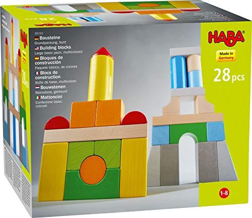 HABA 305163 - Bausteine – Grundpackung, bunt, mit 28 Steinen in unterschiedlichen Farben und Formen, Motorikspielzeug aus Holz, für Baumeister von 1 bis 8 Jahren