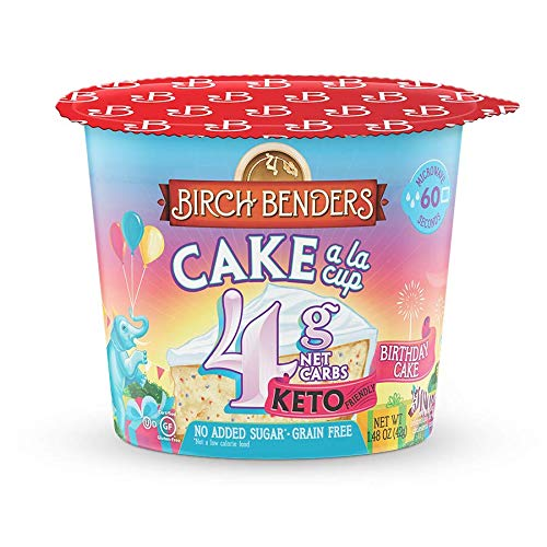 Birthday Cake Cups by Birch Benders, Gluten-Free, Keto friendly, only 4 Net Carbs, Just Add Water, Single Serve Cups, 1.48 oz, Pack of 8
