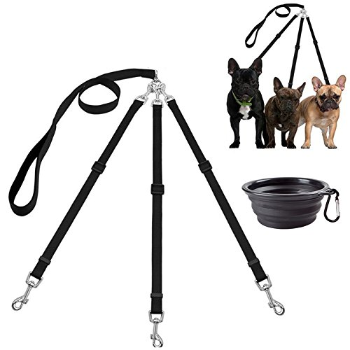3 Way Dog Leash + a Collapsible Travel Bowl, Nylon Adjustable Coupler No Tangle Detachable 3 in 1 Multiple Dog Pet Cat Puppy Leash with Soft Padded Handle (Black)