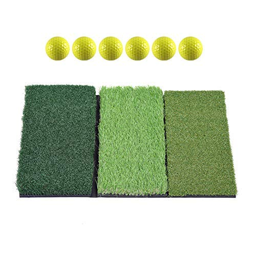 SkyLife 3-Turf Golf Hitting Grass Mat 16'' x 25'', Portable Training Fairway Rough TEE Turf, Driving Chipping Putting Golf Equipment, Home Backyard Garage Outdoor Practice (16'' X 25'')