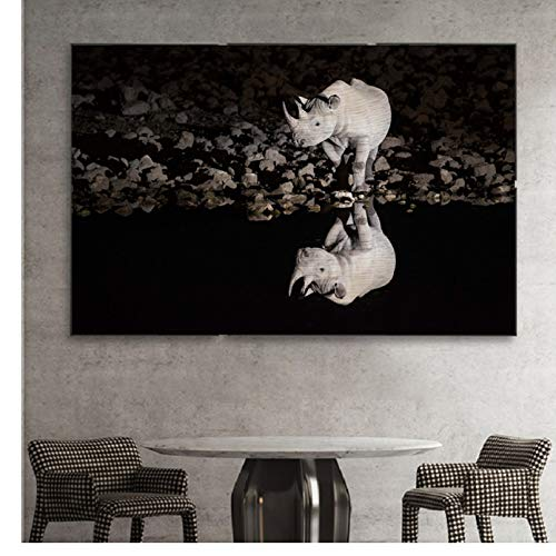 PCCASEWIND Wall Picture Without Frame 50X60Cm- Wildlife Reflection Rhino Animals Black White Canvas Paintings Animals Posters Prints Wall Pictures Living Room Home Decor