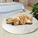 KROSER Donut Dog Bed 102cm Large Cuddler Round Pet Bed Claming Self-Warming & Washable Removable Cover Non-slip Waterproof Bottom Deluxe Soft Plush Cushion Sleeping Bed for Large Dog (L-White)