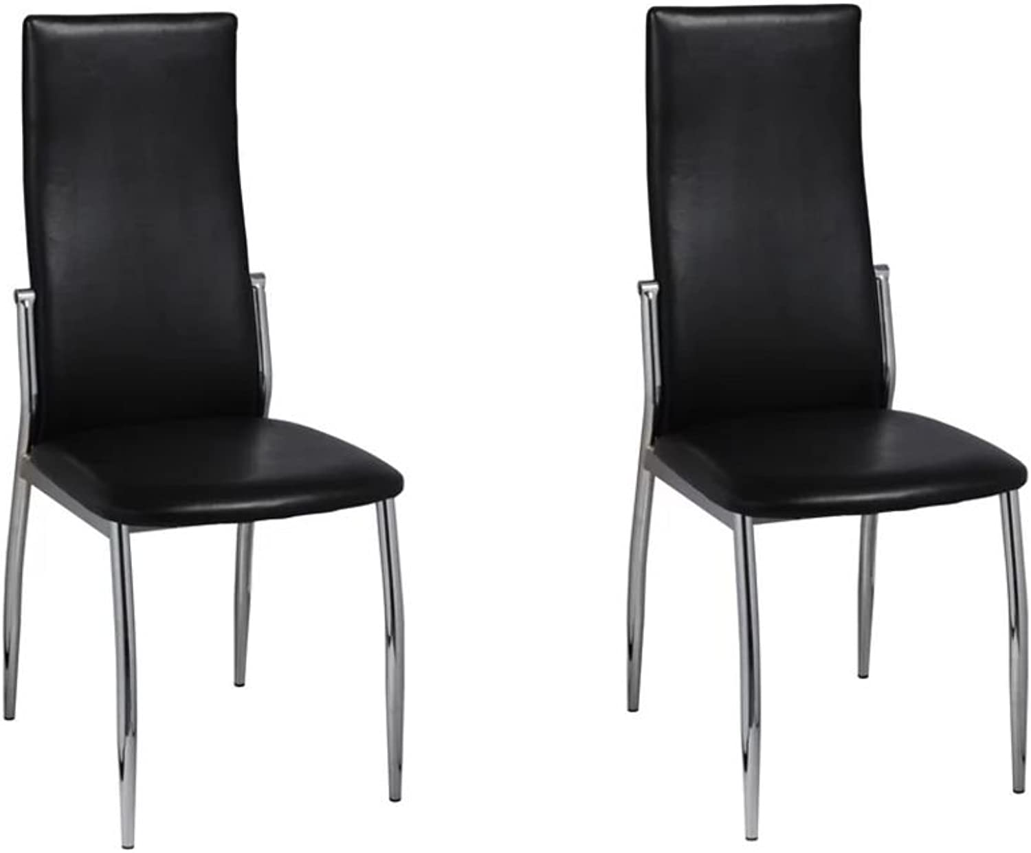 Festnight Dining Chairs Restaurant Stool 2 pcs Artificial Leather Chair Office Chair Black