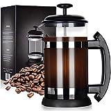 zivxisn Französische Kaffeepresse, Kaffeebereiter Presskanne auch für Tee 8 Cups 34oz Perfekt für den Morgenkaffee mit Borosilikatglas