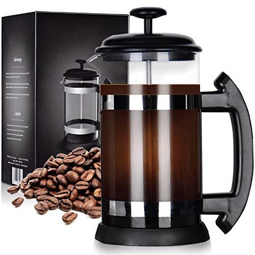 zivxisn 8 Cups Kaffeebereiter French Press, Französische Kaffeepresse 34oz Handfilter Kaffeepresse mit Plunger aus Edelstahl 304 (1000ml)