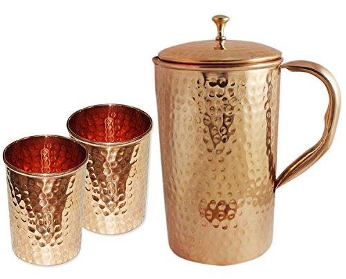 Indio de cobre jarra con 2 vaso de cristal para Ayurvedic de...