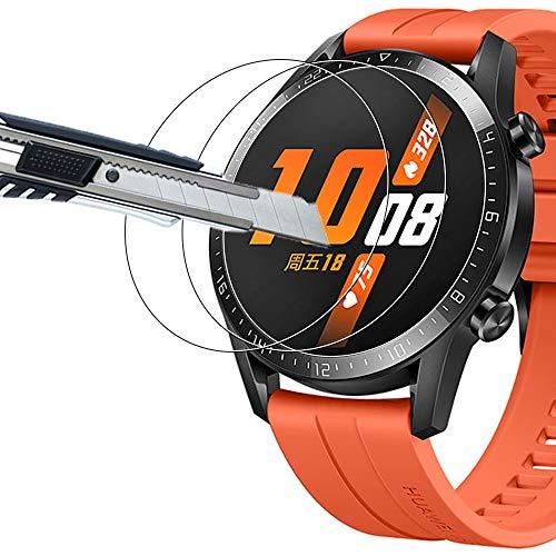THILIVE [3 Stück] Huawei Watch GT2/Honor MagicWatch 2 Panzerglas, Bildschirmschutzfolie panzerfolie, Folie gehärtetem Glas,9H Festigkeit,Kratzfest,Glasfolie Glas Schutzfolie-klare