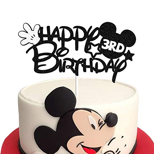 Happy 3rd Birthday Black Glitter Mickey Mouse Cake Topper 3 Three Years Old Party Decorations Supplies for Baby Boys Girls