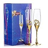 1 ensemble de (2) verres à champagne haut de gamme, toasts de mariage / fête, verres à vin rouge créatifs, cadeaux d'anniversaire de mariage (Or, Style 1)