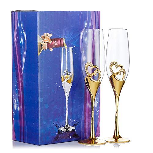 Juego de corazones creativos de plata con copas de champaña de diamantes, copas de boda para novia y novio, vasos de tostado, juegos de regalo para parejas, compromiso, boda,...