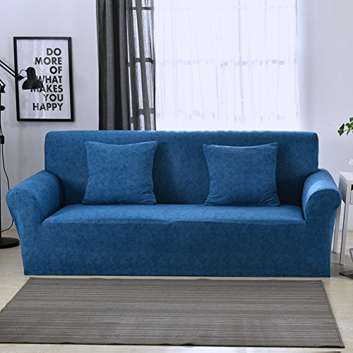 1 2 3 4 Sitzer Sofa Sofabezug Elastischer Sofaüberwurf Rutschfeste Stretch Hussen für Sofa, Einfarbig, Polyester/Elasthan,mit Leinenmuster Couch Cover Protector, dunkelblau, 2 Seater:145-185cm