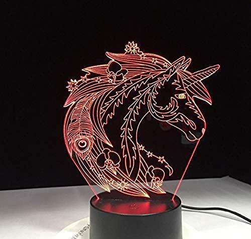 Nachtlichter 3D Schöne Einhorn Pferd 3D Lampe 7 Farben Ändern Schlafzimmer Dekor Für Kinder Baby Spielzeug Tisch Led-Lampe Wohnkultur Licht
