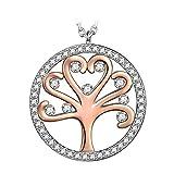 Kami Idea Regalos Dia de la Madre Mujer Collar Árbol de la Vida Colgante Chapado en Oro Cristales de Swarovski Regalos de Madres Joyeria para Aniversario Cumpleaños Ella Su Mamá Chicas Dama Abuela