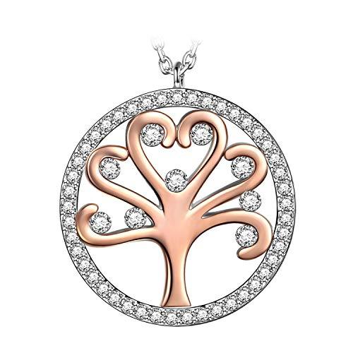 Kami Idea Regalos Dia de la Madre Mujer Collar Árbol de la Vida Colgante Chapado en Oro Cristales de Austria Regalos de Madres Joyeria para Aniversario Cumpleaños Ella Su Mamá Chicas Dama Abuela