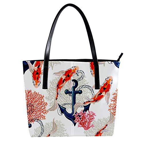 Modische Damen-Handtasche aus Mikrofaser-Leder, für alle Anlässe, Schultertaschen für Frauen, Karpfen und Anker, 39,9 x 29 x 8,9 cm
