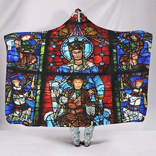 Super Weich Mit Kapuze Decken Notre Dame de la Belle Verrière Fenster Chartres Kathedrale Chartres Frankreich Gotisch Europa Druck Warmer Winter Sherpa Neuheit Wickeldecke White 130x150cm