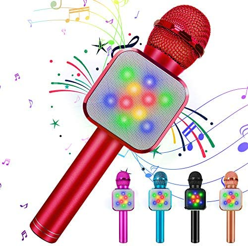 KIDWILL Wireless Bluetooth Karaoke Microphone 5 in 1 Handheld Karaoke Microphone with LED Lights product image
