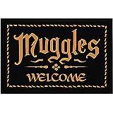 MoonWorks® Felpudo con texto en alemán 'Muggles Welcome Willkommen Fantasy Buch/Film-Serie, Zaubern', antideslizante y lavable, color negro, 60 x 40 cm