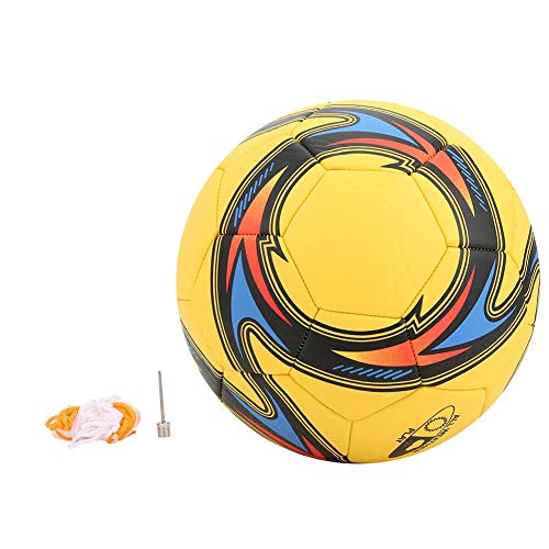 Vbest life Balón de fútbol de PVC de Entrenamiento Deportivo para Equipo de Entrenamiento de Equipo: Accesorio Cosido para Interiores o Exteriores(Amarillo)
