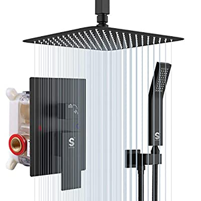 SR SUN RISE 10 Inch Ceiling Mounted Shower System Rain Mixer Shower Combo Set Rainfall Shower Head System Matte Black Shower Faucet Rough-in Valve Body and Trim Included