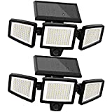 Solar Lights Outdoor 2 Packs, 210 LED 2500LM LED Solar Powered Security Flood Lights with Motion Sensor Wireless 25FT IP65 Waterproof 3 Heads Spot Flood Wall Lights