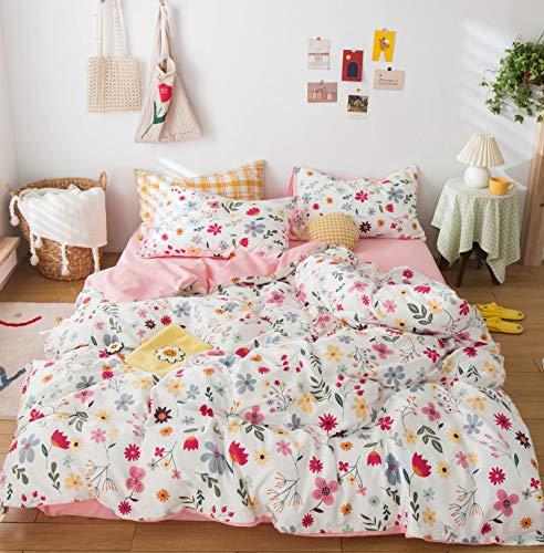 GETIYA Ropa de cama infantil de dibujos animados, 100 x 135 cm, 100 % algodón, reversible, diseño de flores, con cremallera y funda de almohada de 40 x 60 cm