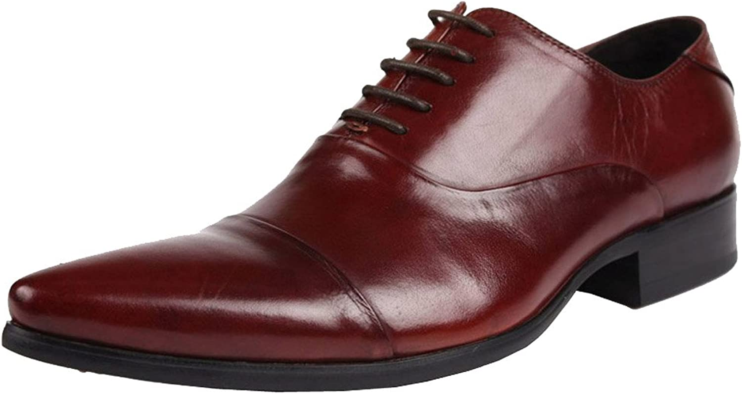 Wuf Men's Genuine Leather Dress Formal shoes Lace up