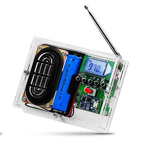 PEMENOL Radio FM, kit de montaje de 87,5 – 108 MHz, kit de montaje de bricolaje, creativo, receptor de radio, electrónica, FM digital, con conector para auriculares para soldar, enseñar y ense