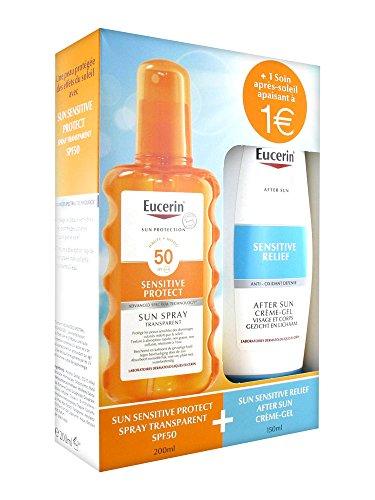 Eucerin Sun Protection Sun Spray Transparent SPF 50 200 ml + Sensitive Relief After Sun Crème-Gel 150 ml
