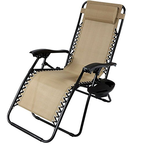 Sunnydaze Outdoor Zero Gravity Lounge Chair with Pillow and Cup Holder, Folding Patio Lawn Recliner,...