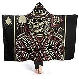 Sudadera con capucha y capucha para hombre, con diseño de calavera y chal de franela con mangas, 152 x 127 cm