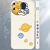 Compatible iPhone Xs Max Case,Cool Space Astronaut Planet,Side Cute Cartoons Creative Pattern Designed, Soft TPU Bumper Shockproof Anti-Slip Protective Cover(6.5Inch)(White)