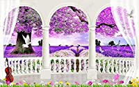壁の壁画 壁紙 ローマ時代の柱バルコニー紫の花畑の風景 壁画 壁紙 ベッドルーム リビングルーム ソファ テレビ 背景 壁 壁面装飾のための,300x210cm