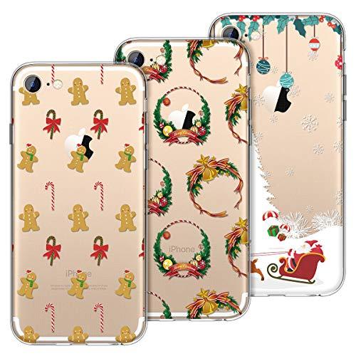 KOTPARX Cover per iPhone 7 / iPhone 8, Natale Christmas Custodia Silicone Gel TPU Trasparente con Disegni Morbida Ultra Sottile Slim Antiurto Protettiva Case Cover [3 Pack]