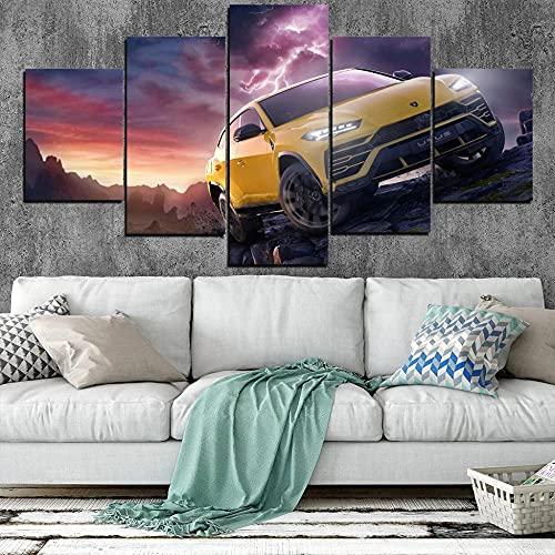 GUANGWEI 5 Piezas Lienzo Pintura Moderna Etiqueta De La Pared Rayo, Coche Amarillo Pintura De Arte De Impresión HD Y Decoración del Hogar Decoración De Muebles Pintura De Arte De Pared 3D