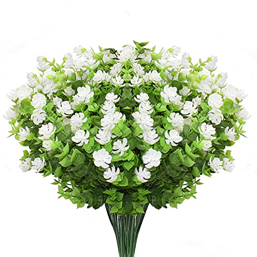 Boic Flores Artificiales Exterior, 10 pcs Resistente a los Rayos UV Flores Falsas Plástico Realista para el Hogar Jardín Patio Granja Decoraciones - Blanco