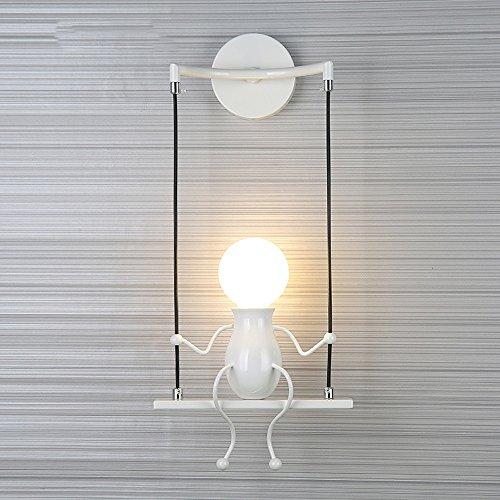 FEIFEIMOP - Aplique de tipo candelabro para muñecas, hierro, moderno, personalidad, simple, color negro, rojo, blanco, creativo, para niños, boda, sala de noche, salón sencillo, doble cabezal E27