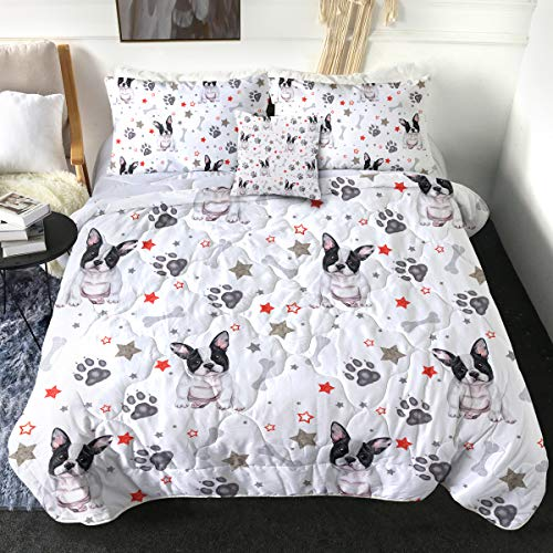 Sleepwish French Bulldog Comforter Set Cute Puppy Dog Bedding Sets with 2 Pillow Shams 1 Cushion Cover 4 Piece Boys Girls Paw Star Animal Print Quilt Set Black Grey and Red (Full)