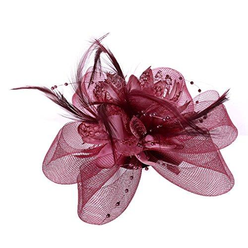 VIccoo Womens Bloem Veer Kralen Mesh Corsage Haar Clips Fascinator Bruids Haarband - Fluorescerend Roze