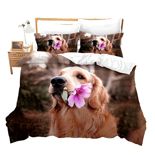 Loussiesd Golden Retriever Duvet Cover Set Single Size for Boys Girls Kids Teens 3D Pet Themed Animal Bedding Set Funny Dog Comforter Cover with 1Pillow Shams Flowers Soft Microfiber Zipper
