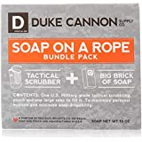 Duke Cannon Soap On A Rope Bundle Pack: Tactical Scrubber + Big A Brick of Soap -