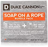 Duke Cannon Soap On A Rope Bundle Pack: Tactical Scrubber + Big A Brick of Soap -'Smells Like Victory'